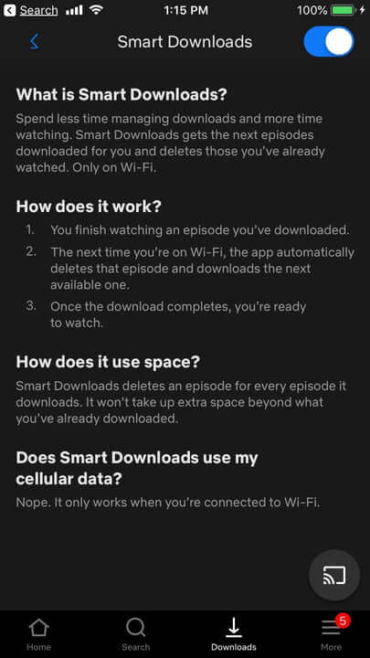 خاصية Smart Downloads تصل إلى نظام iOS على تطبيق Netflix