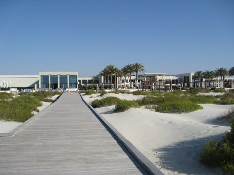 Boardwalk from beach back to main building