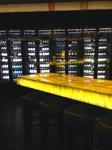 Onyx bar table and wine cellar