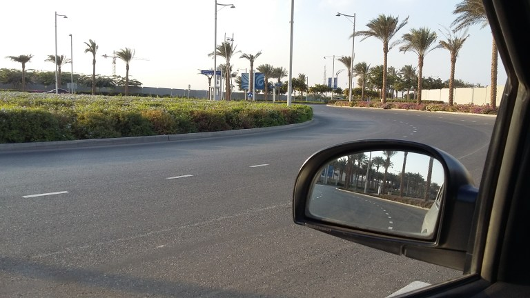 View from the car window of a road in Cairo, Egypt