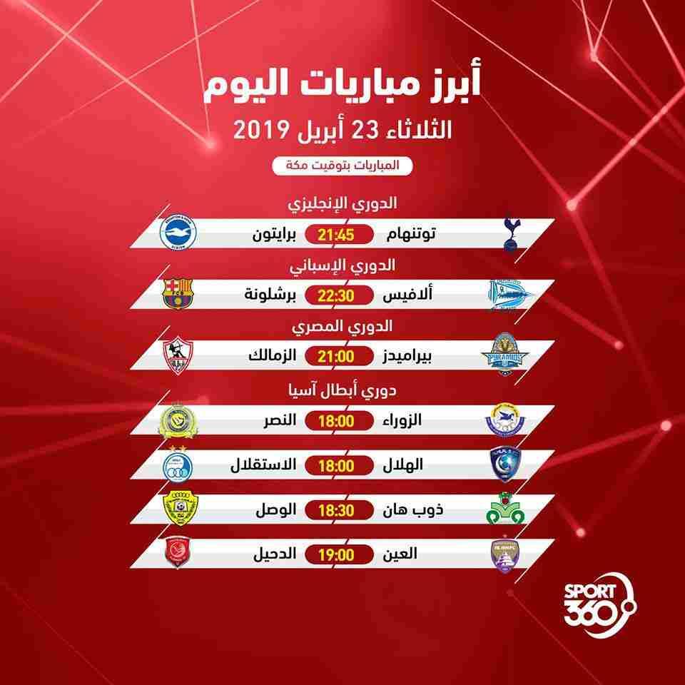 جدول مواعيد مباريات اليوم والقنوات الناقلة الثلاثاء 23 4