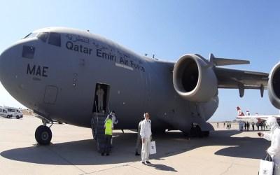 وصول طائرة المساعدات القطرية الى المطار