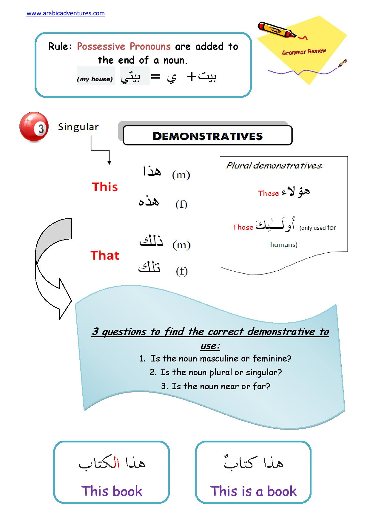 New Possessive Pronouns Arabic