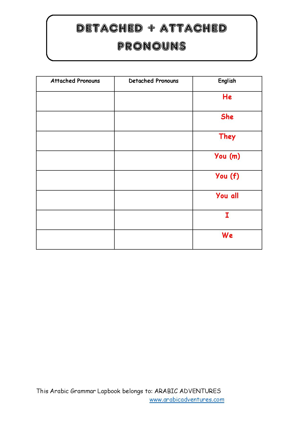 Arabic Grammar Lapbook Free Pack