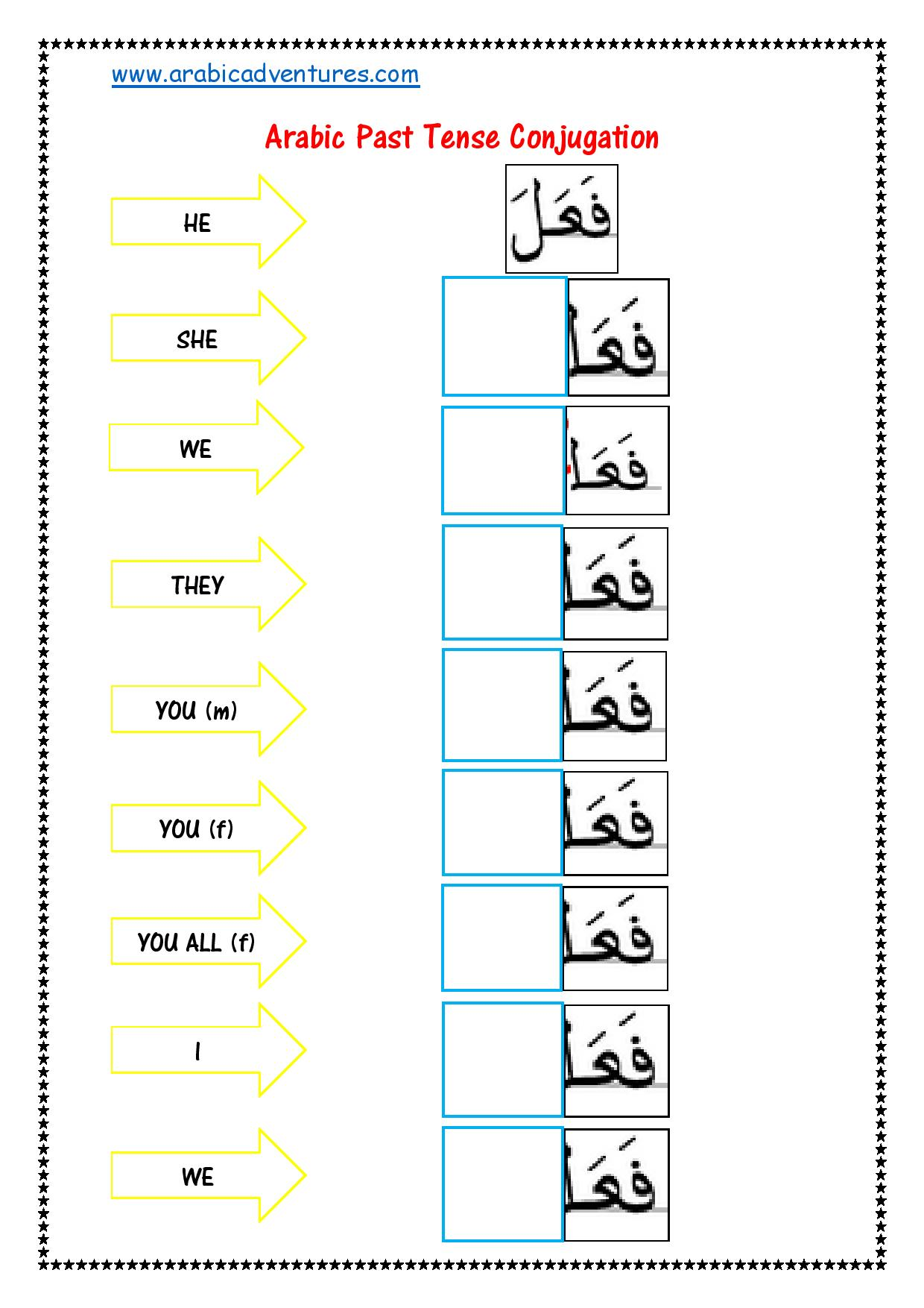 Arabic Past And Present Tense Fill In The Blank Worksheet
