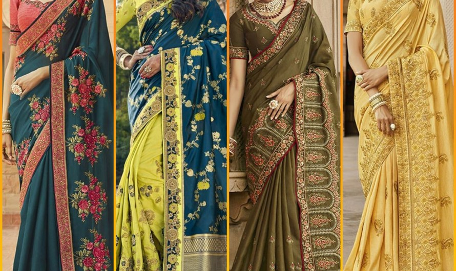 Traditional Style Sangeet Wear Bridal Half N Half Saree Designs 2020 In India
