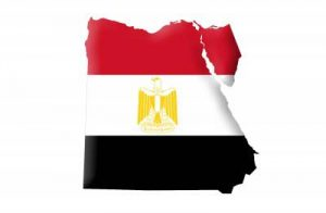 Umrisskarte von Ägypten mit der Landesflagge