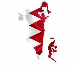 Umrisskarte von Bahrain mit der Landesflagge