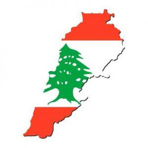 Umrisskarte von mit der Landesflagge vom Libanon