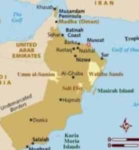 Übersichtliche Landkarte mit den Städten des Sultanats Oman