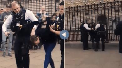 Photo of انظر كيف أمسكوا بامرأة وهي تتسلق إلى قصر ملكة بريطانيا