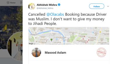 "Photo of هندي يرفض الركوب مع سائق سيارة أجرة لأنه ""مسلم"""