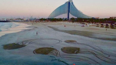 Photo of ناثينال ألبيدو يحوّل رمال شواطئ دبي إلى لوحات فنية