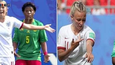 Photo of شاهد لاعبة كرة إفريقية تبصق على إنجليزية في كأس العالم