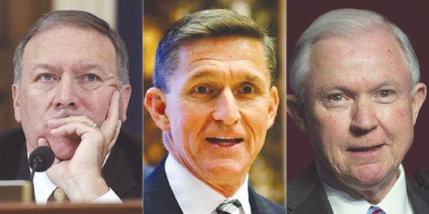 فريق ترامب، من اليمين، وزير العدل جيف سيشنز، ومستشار الأمن القومي مايكل فلين، ومدير الاستخبارات المركزية مايكل بومبيو