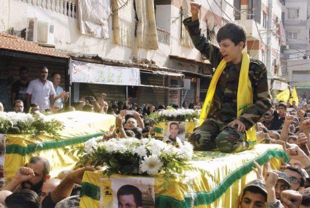 تشييع شهيدين لحزب الله قتلا في حلب في الضاحية الجنوبية