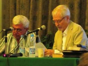 Khoury with Davies at the AUC's Oriental Hall.
