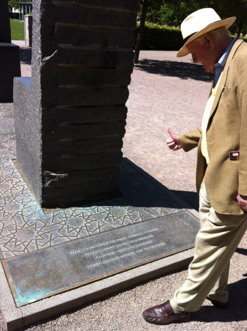 """From a spring 2012trip to Weimar: at the monument to Goethe's East West Divan. Mark gives the Leitmotiv of this poem the thumbs up. As publisher Barbara Schwepke, who took the photograph, notes: """"It was his Leitmotiv as well."""""""