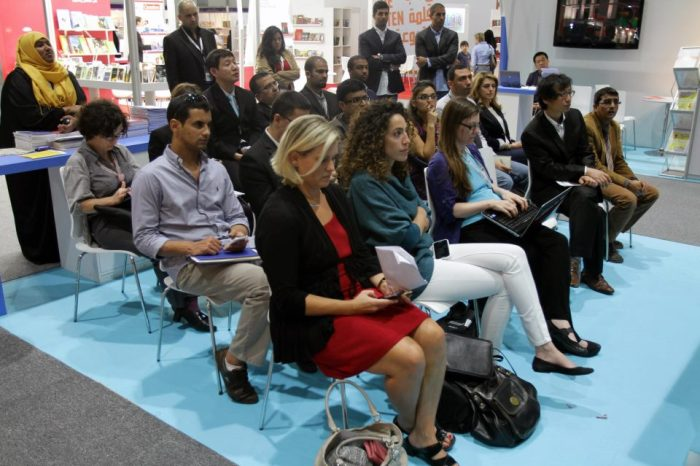 """An excellent talk about """"children's books vs. children's apps"""" in the """"E-zone"""" of the fair. Photo credit: Abu Dhabi International Book Fair."""