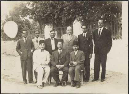 Apollo's Society, some members posing in the garden in 1935.