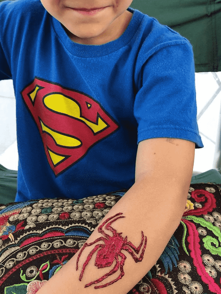 Spiderman Logo Henna Design on Hand