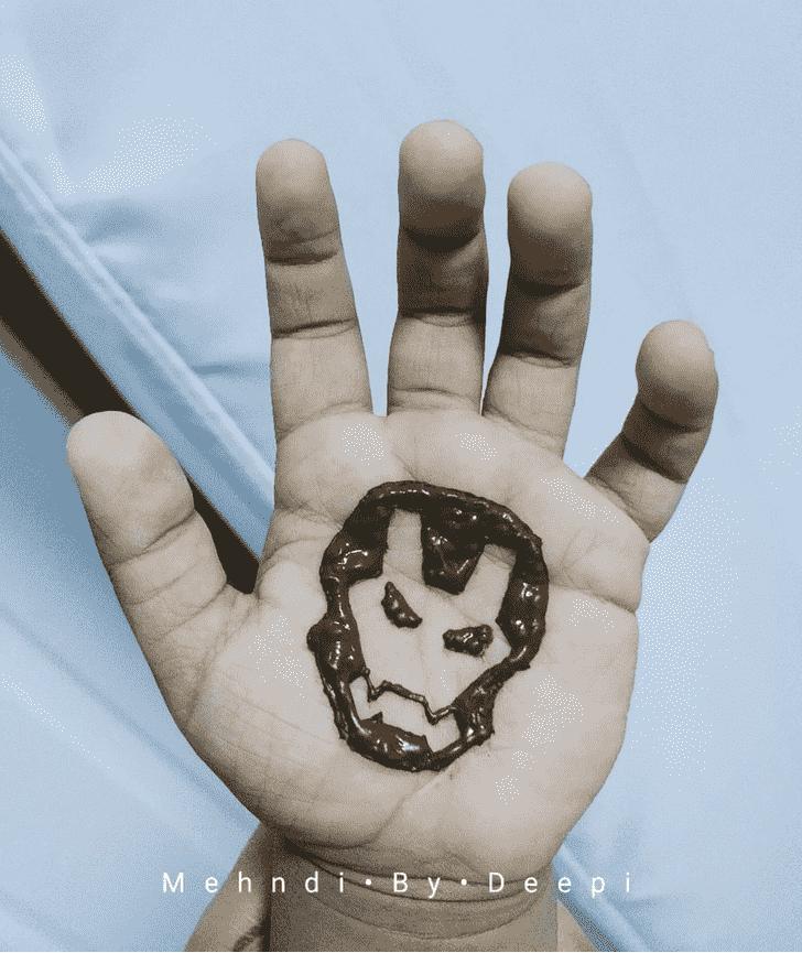 Iron Man Mask Henna Design on Palm