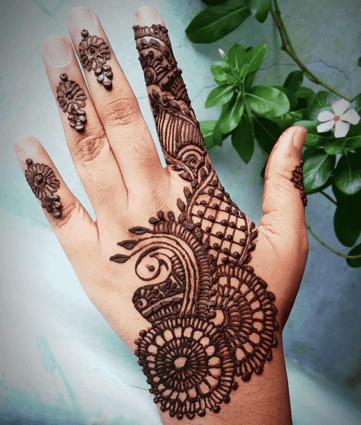 Angelic Back Hand Henna Design
