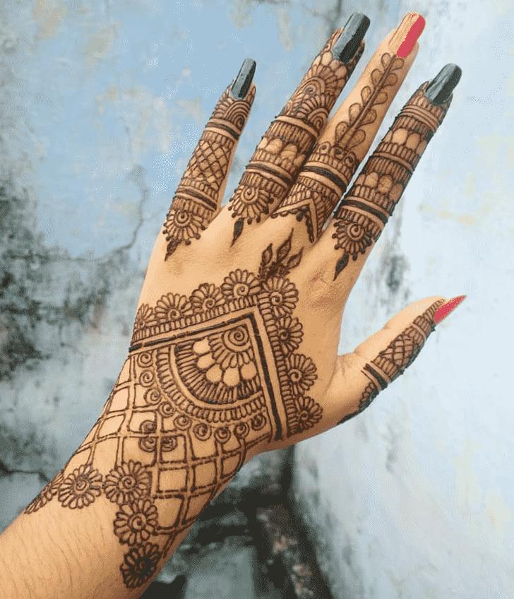 Classy Back Hand Henna Design