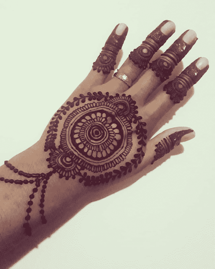 Inviting Back Hand Henna Design