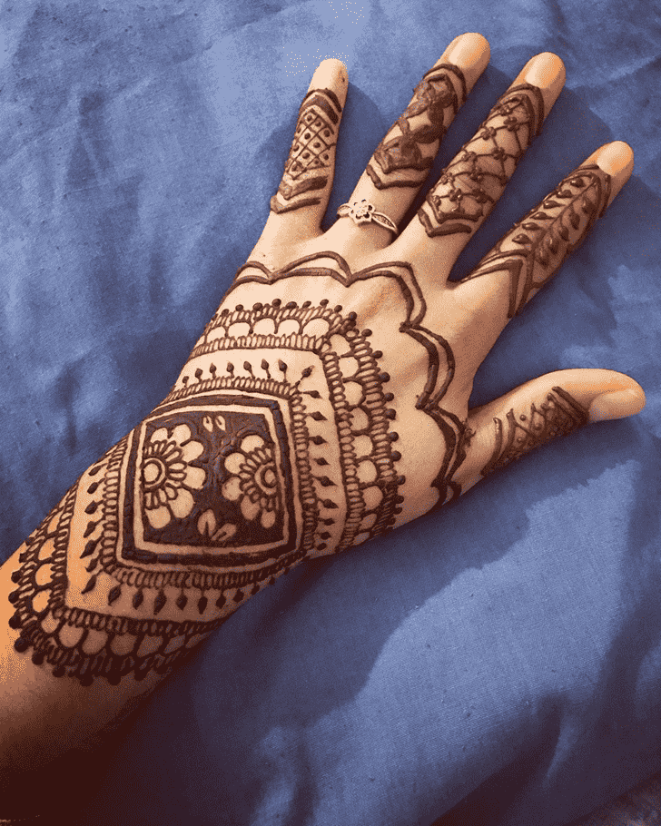 Magnificent Back Hand Henna Design