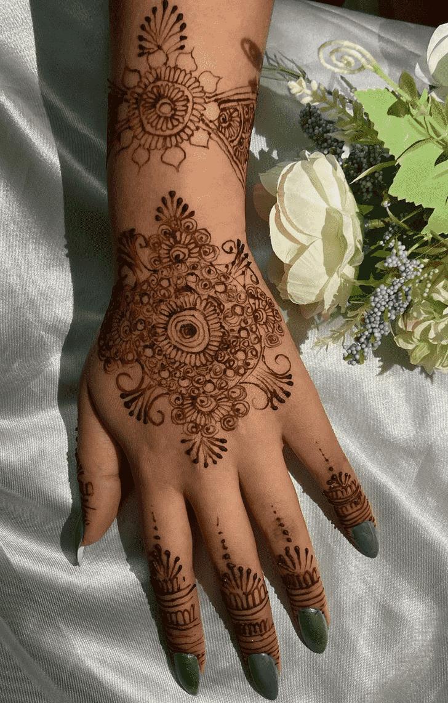 Wonderful Back Hand Mehndi Design