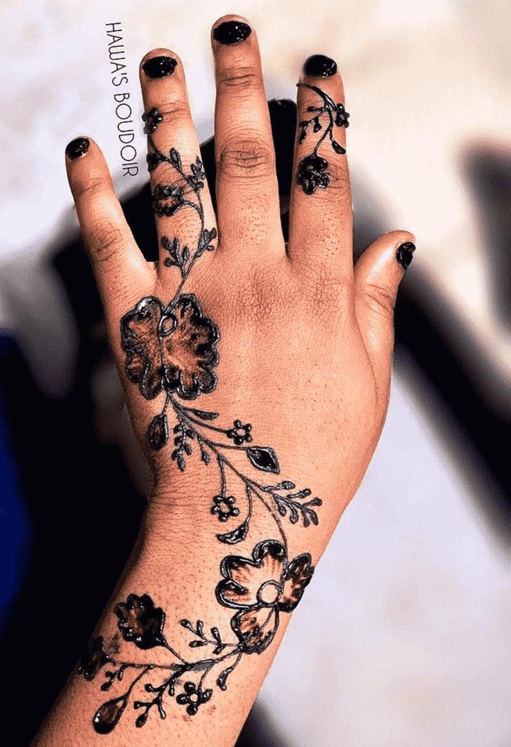 Delicate Black Henna design
