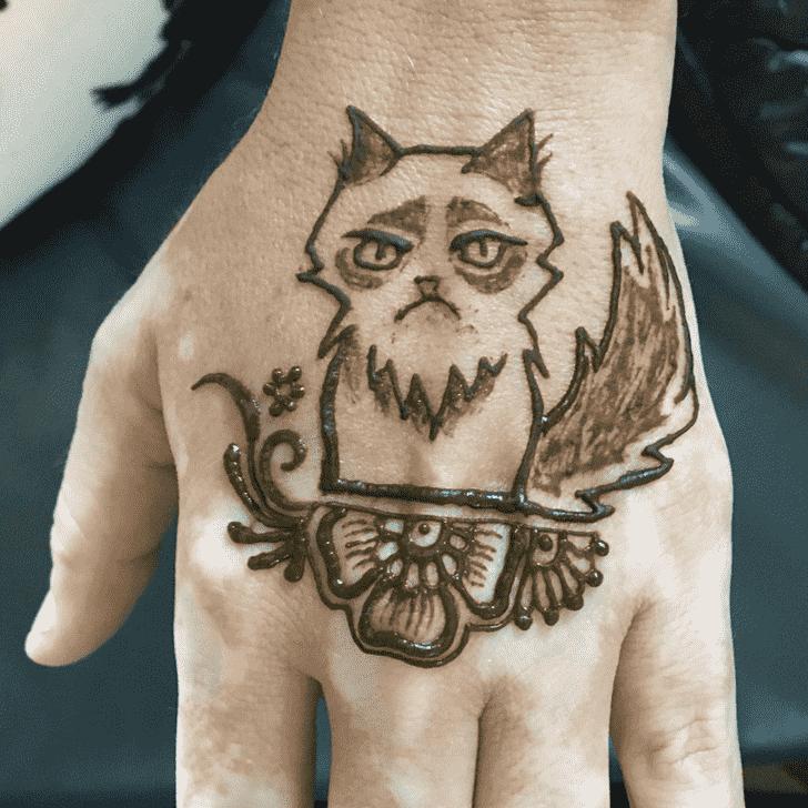 Delicate Cat Henna Design