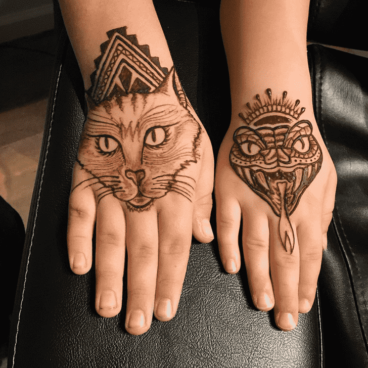 Delightful Cat Henna Design