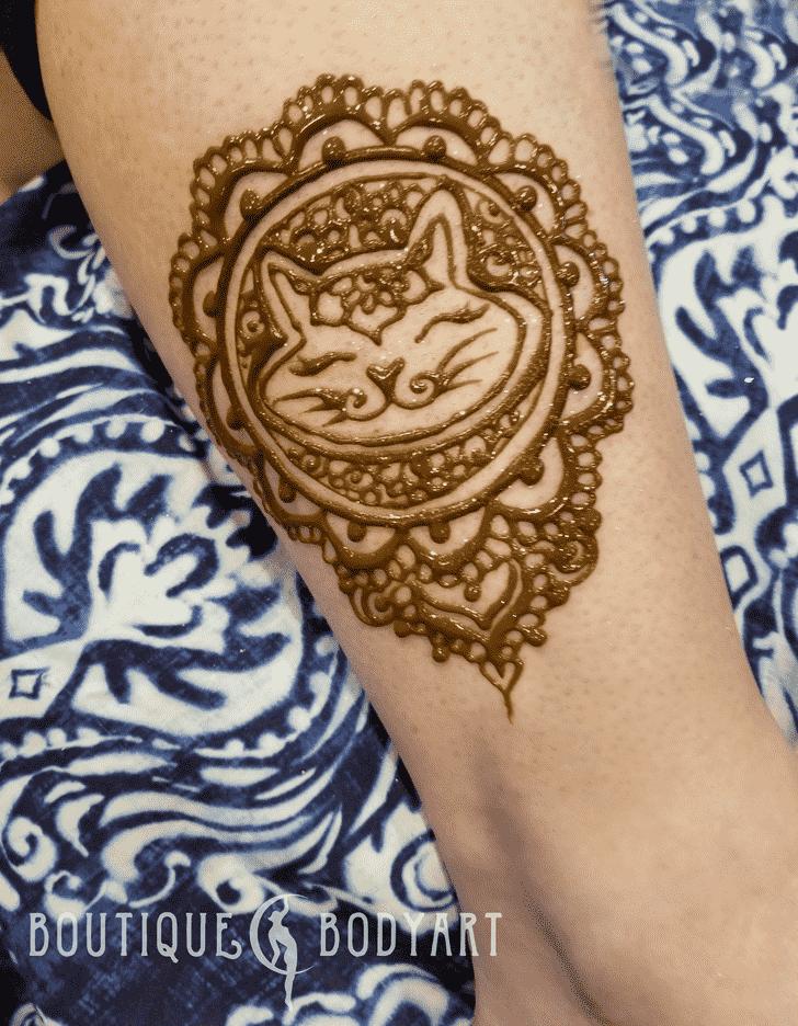 Lovely Cat Mehndi Design