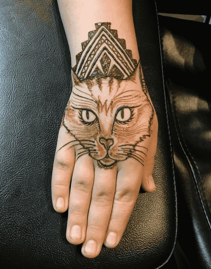 Magnificent Cat Henna Design