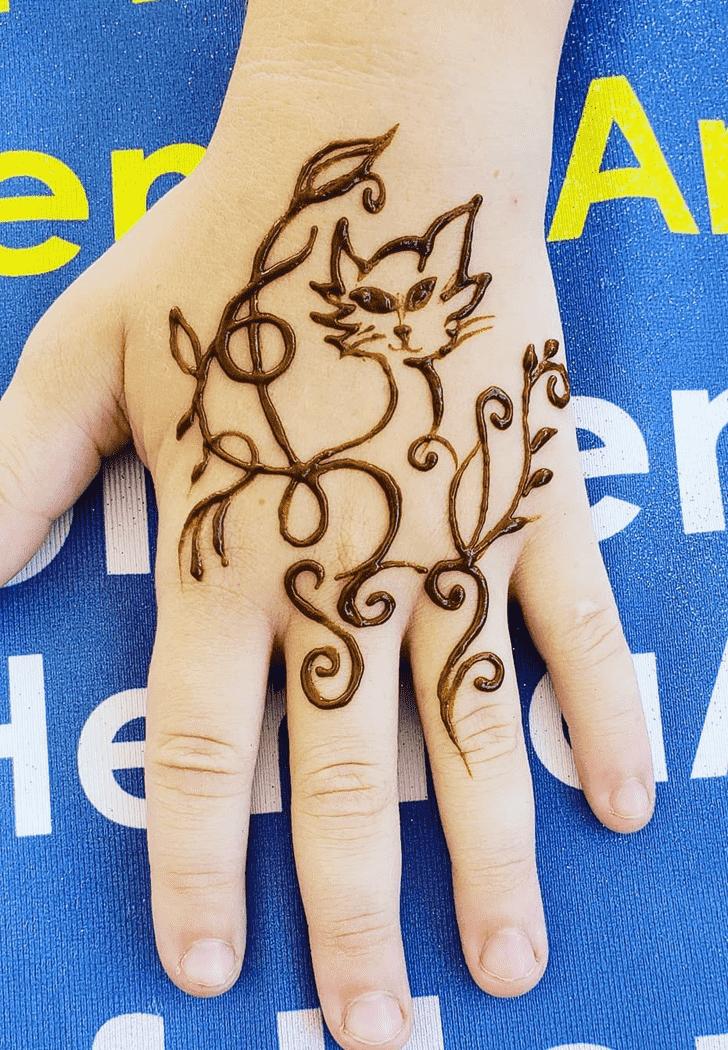 Nice Cat Henna Design