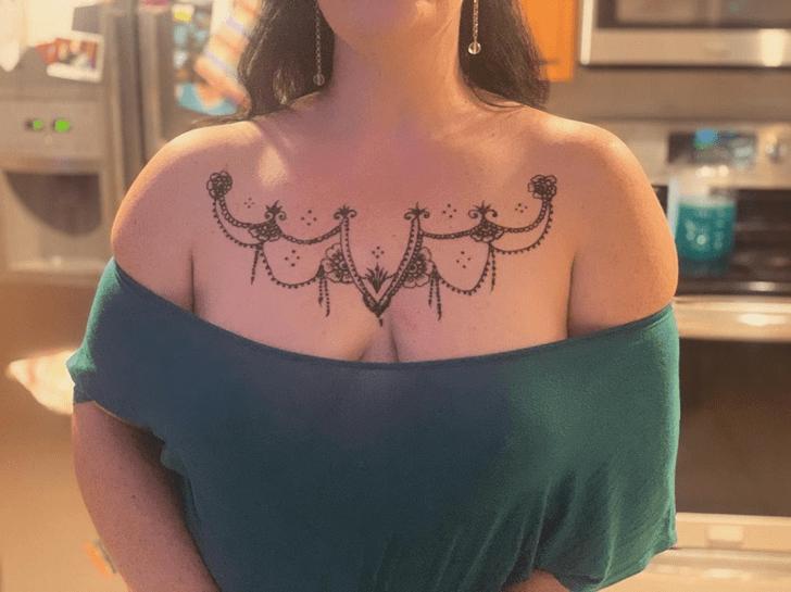 Appealing Chest Henna Design