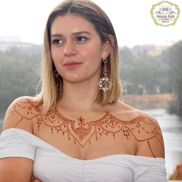 Bewitching Chest Henna Design