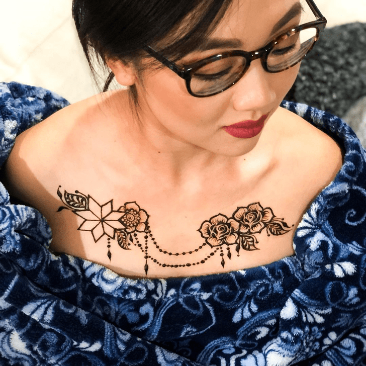Classy Chest Henna Design