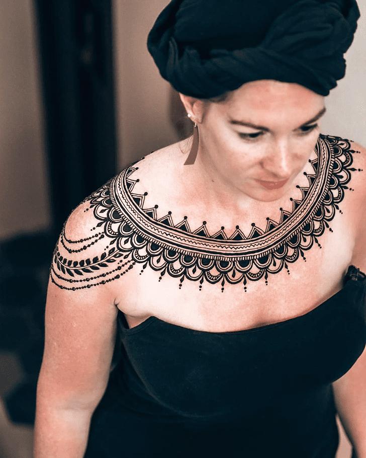 Cute Chest Henna Design