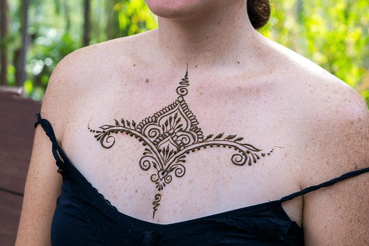 Elegant Chest Henna Design