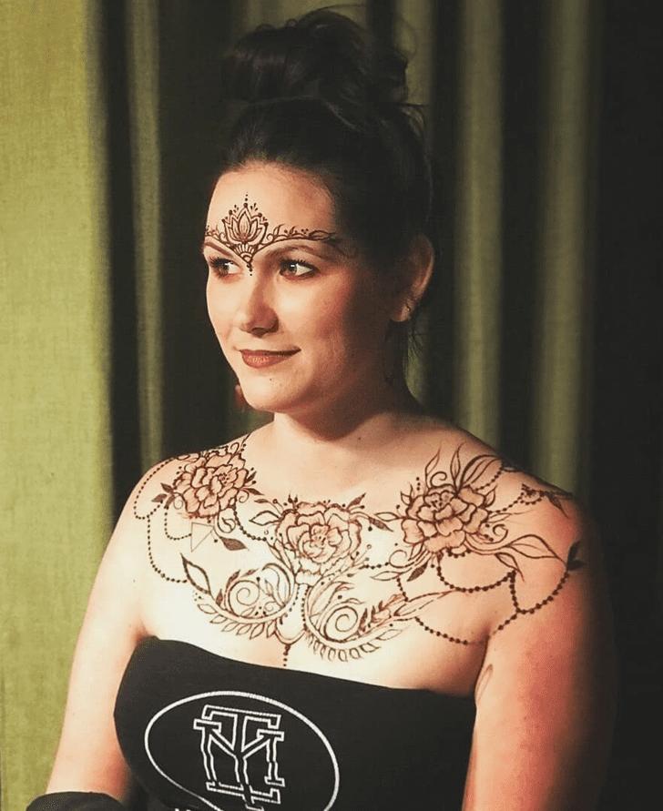 Fine Looking Chest Henna Design