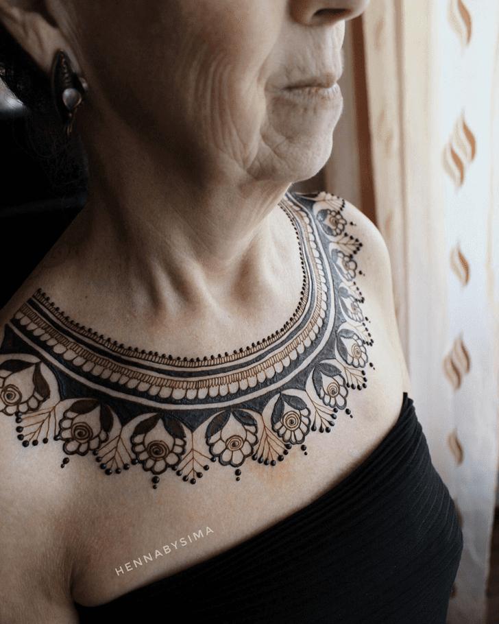 Good-Looking Chest Henna Design