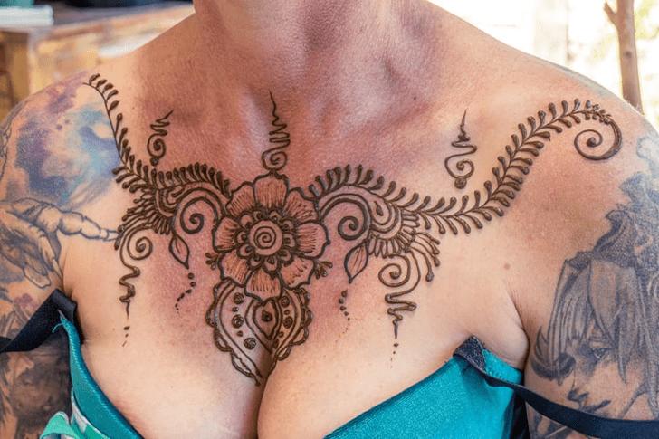 Superb Chest Henna Design