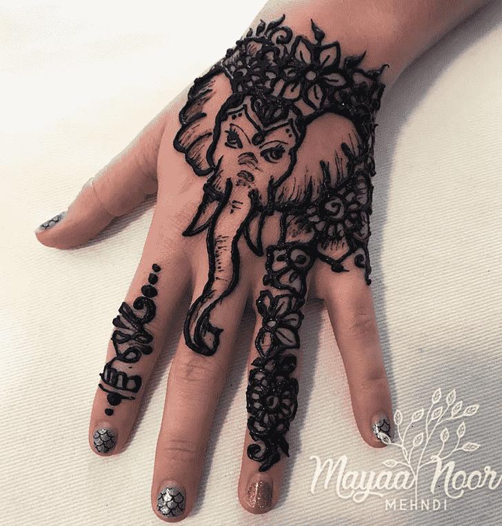 Classy Elephant Henna Design