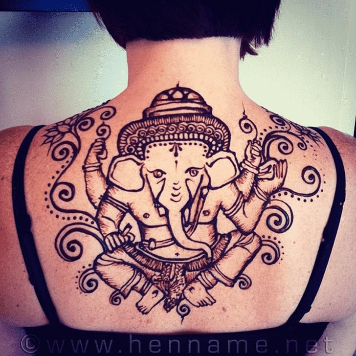 Charming Ganpati Henna design