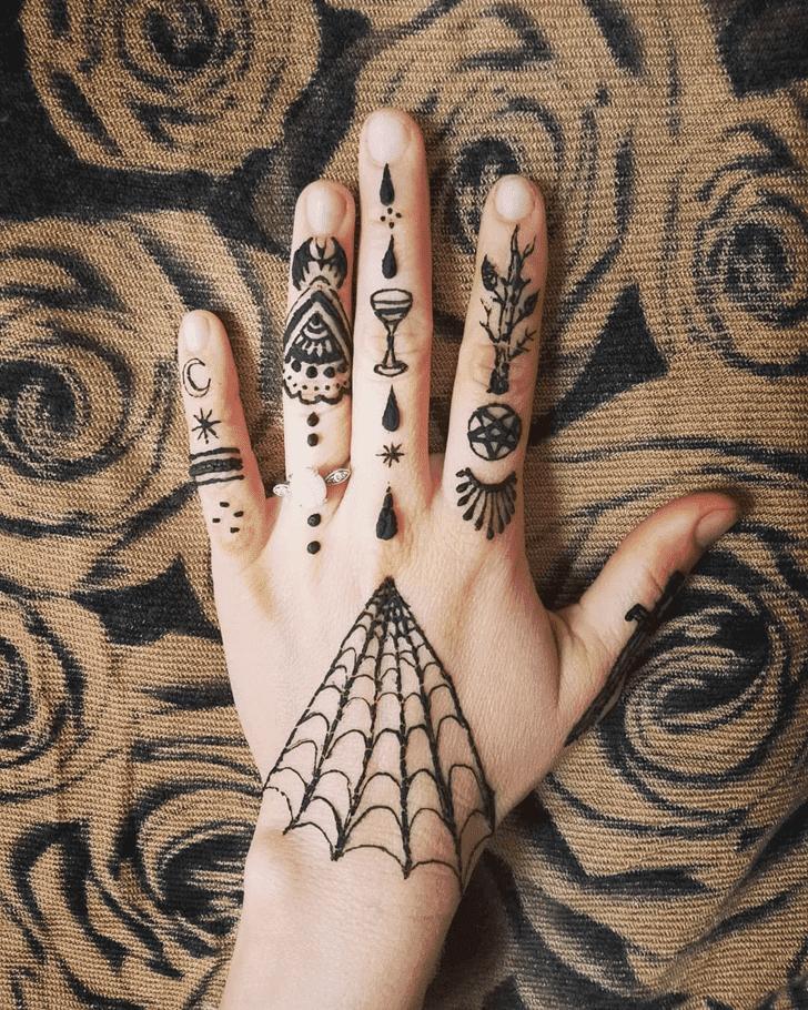 Fine Halloween Henna Design