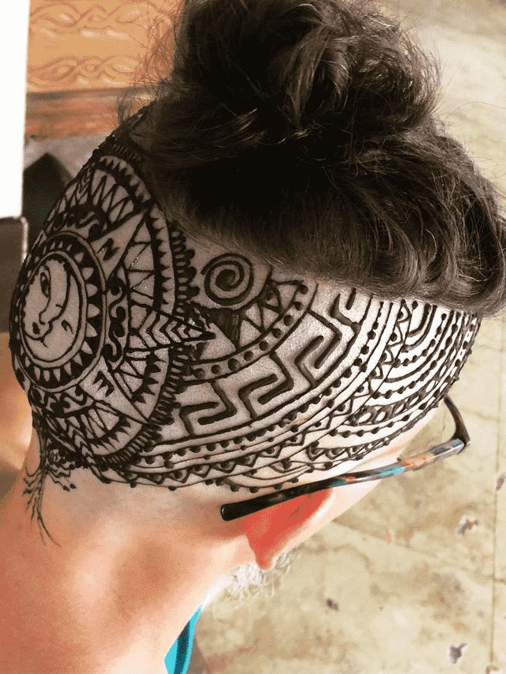 Refined Head Henna design