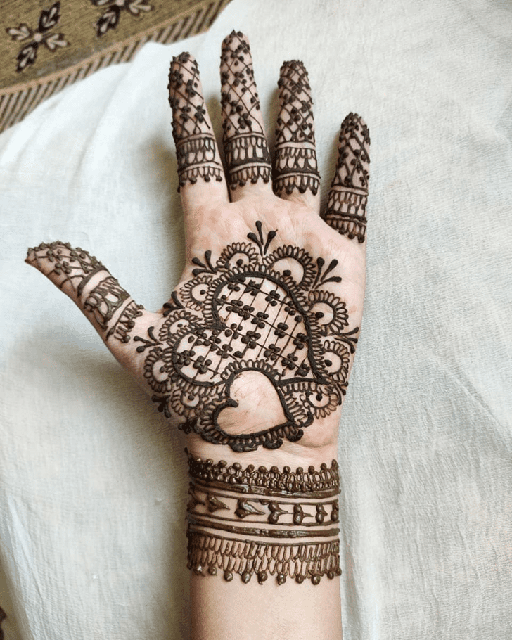 Sightly Heart Mehndi on One Wrist